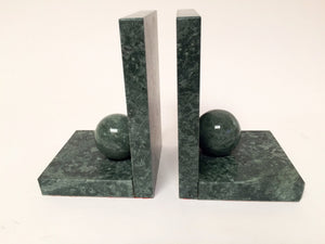 Green Marble Bookends with Sphere Detail