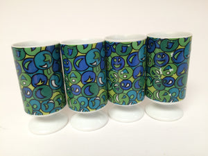 Mid Century Tall Espresso Demitasse Footed Mugs set of 4