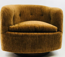Mid Century Modern Milo Baughman for Thayer Coggin Swivel Barrel Chair with Plinth Base