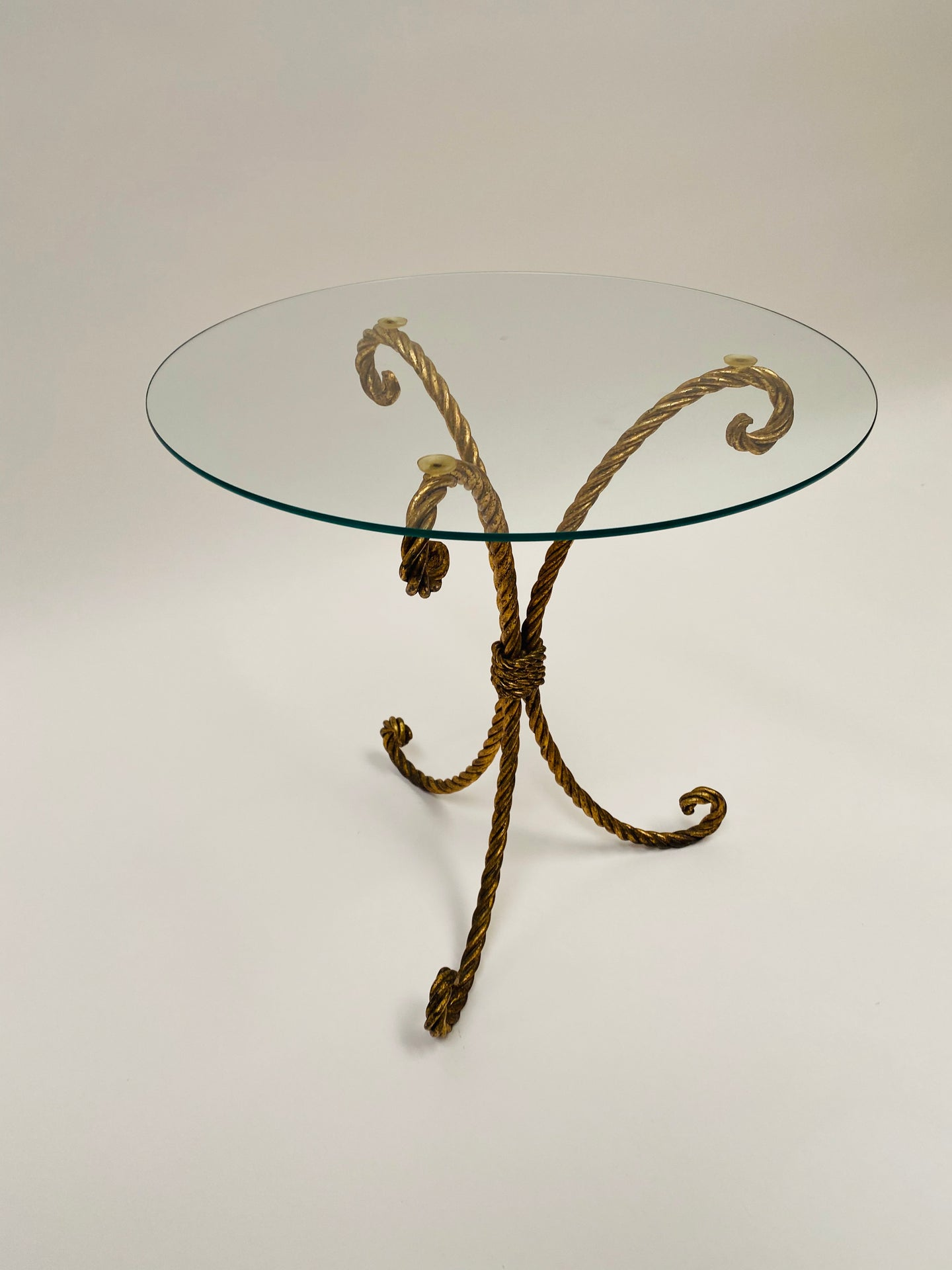 Hollywood Regency Italian Gilt Metal Rope Accent Table