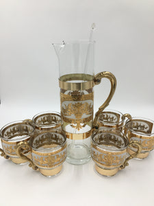 Russian Martini/Cocktail Set with 6 Handled Cups and Cocktail Pitcher has 22kt Gold Trim
