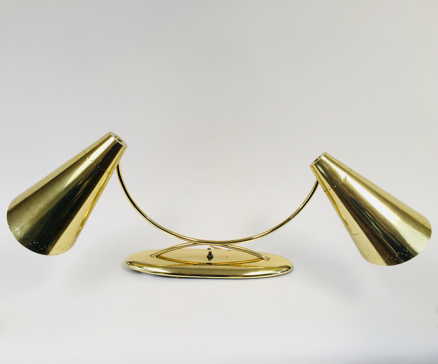 Vintage Brass Laurel Perforated Double Cone Desk Lamp