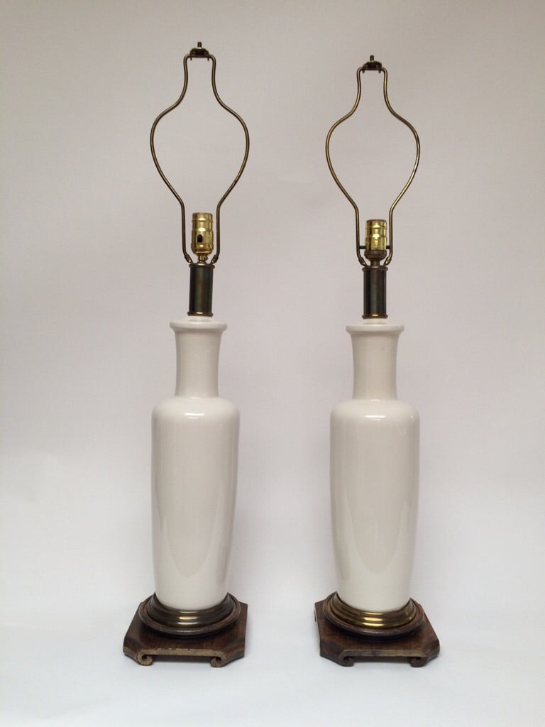 Mid Century Paul Hanson Ecru Ceramic Lamps - A Pair