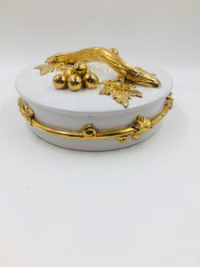 Mid Century Zaccagnini Gold and White Lidded Dish Made in Italy
