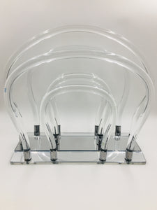 Mid Century Modern Dorothy Thorpe Lucite, Chrome, and Mirror Magazine Rack