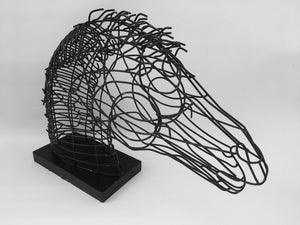 Wire Table Top Horse Head Sculpture