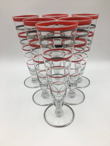 Set of Six (6) Art Deco Red and Silver Banded Footed Pilsners