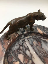 Art Deco Bronze Panther on Marble Ashtray