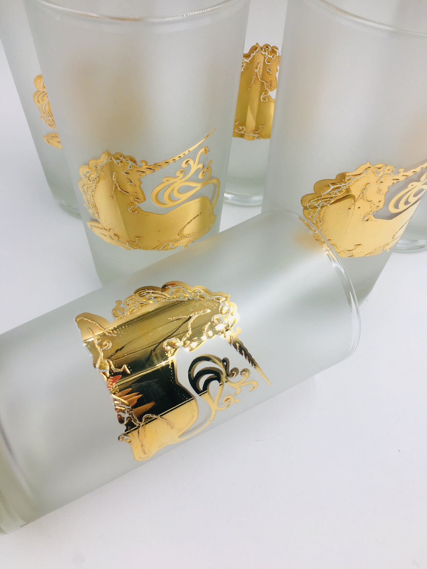 Set of 6 Culver Frosted Highballs with 22k Gold Unicorns