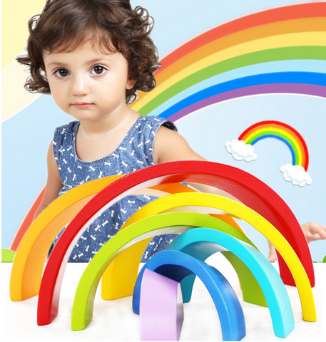 Wooden Rainbow Blocks *Creative and Construction Play*