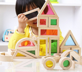 Wooden & Transparent Coloured Building Blocks