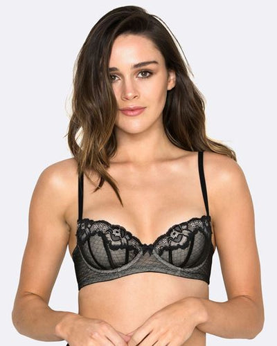 Hush Hush Whisper Padded Balcony Bra in Black HH021