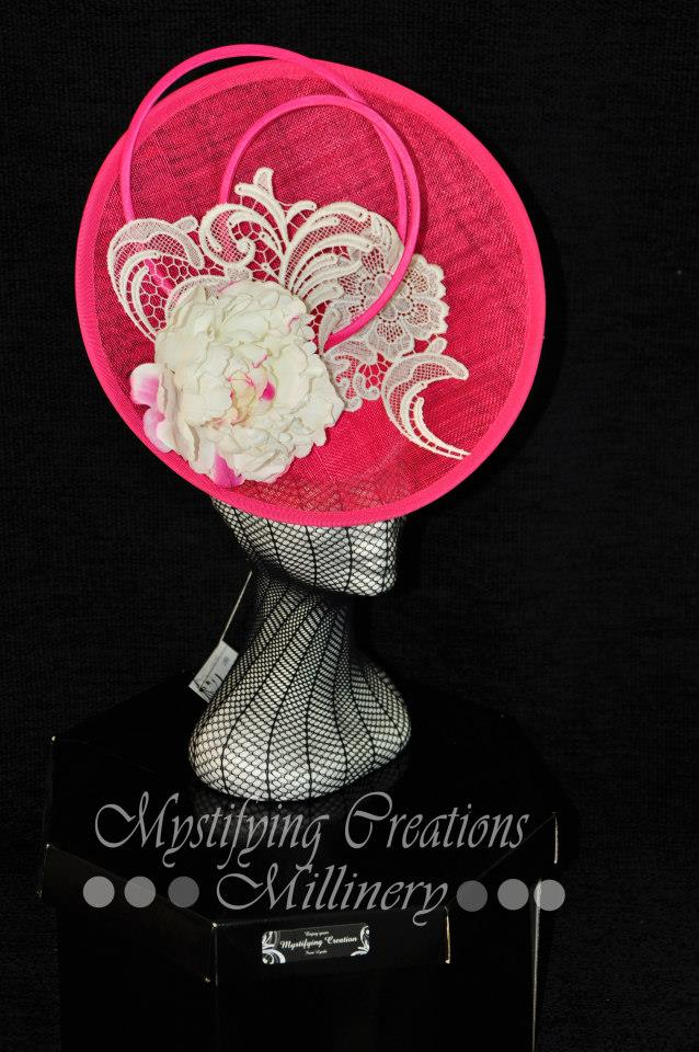 MC Millinery MC1160 Pink satellite shape with flower and lace