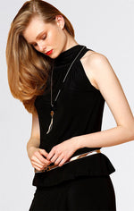Sacha Drake High Neck Tie Top in Black