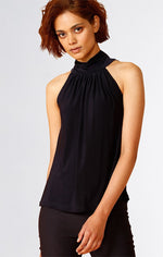 Sacha Drake High Neck Tie Top in Navy