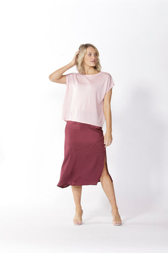 Fate Roula Midi Skirt in Port Wine
