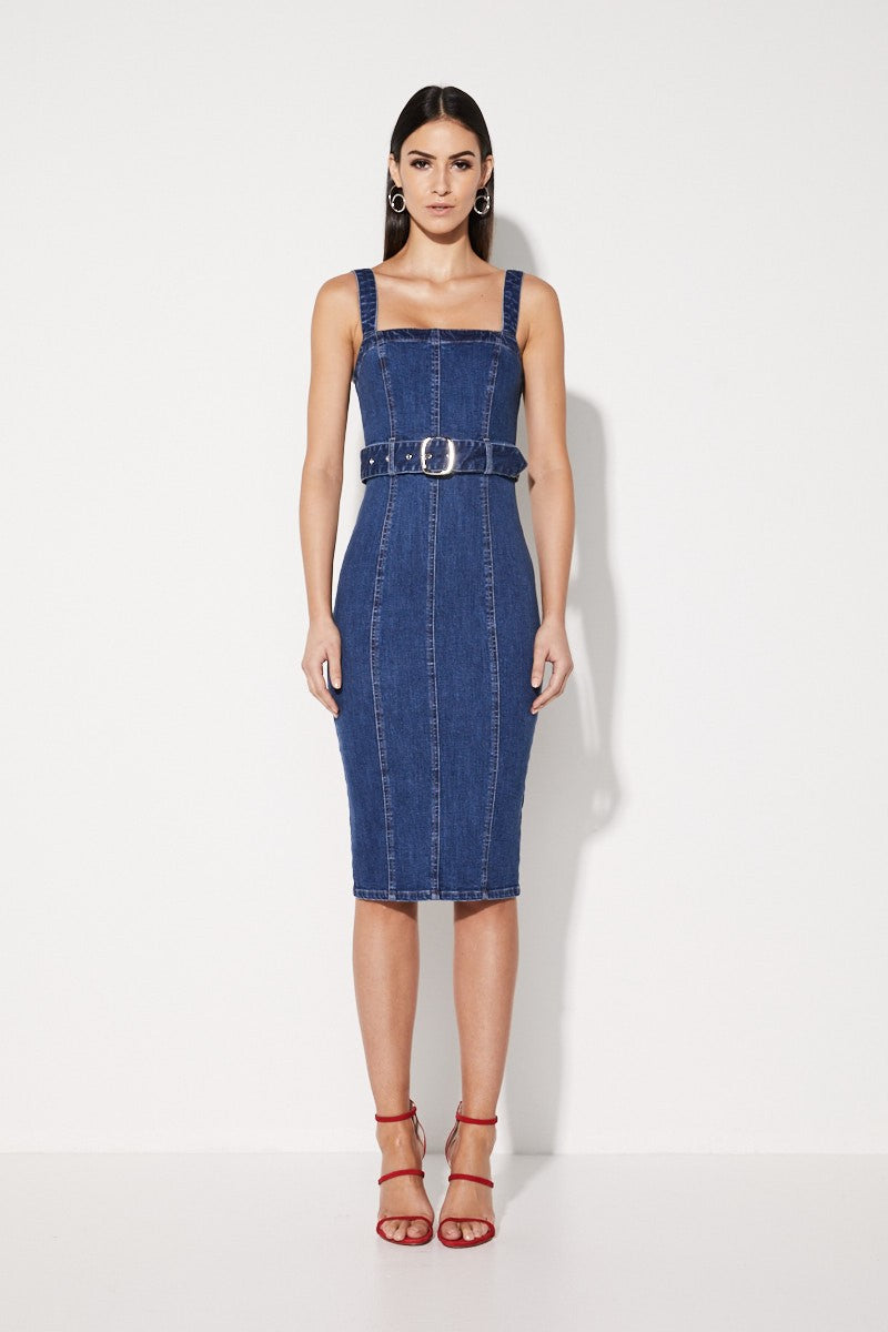 Mossman No Looking Back Midi Denim Dress