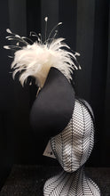 MC Millinery MC1208 Black fabric curved teardrop percher with feather tree