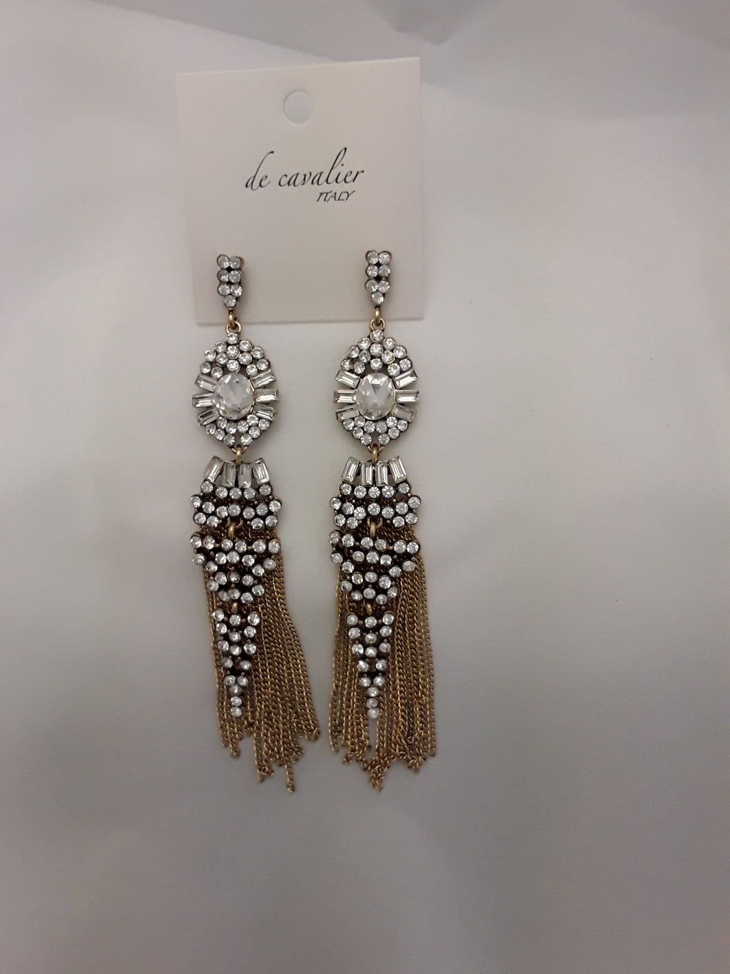 De Cavalier gold chain tassle and diamonte earrings 901