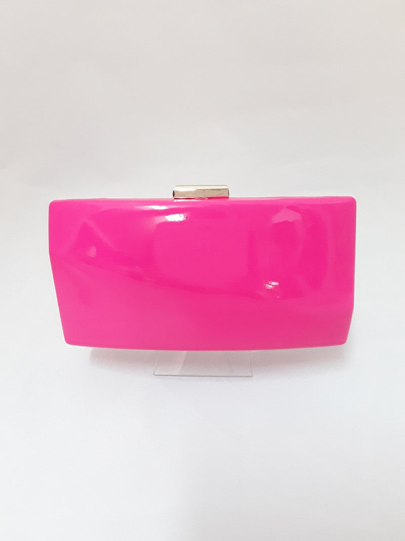 Pink patent clutch with gold clasp 822