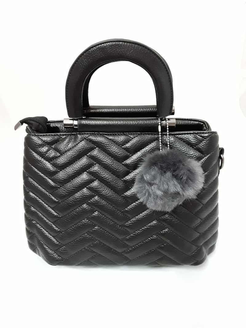 Black quilted vinyl handbag H0759