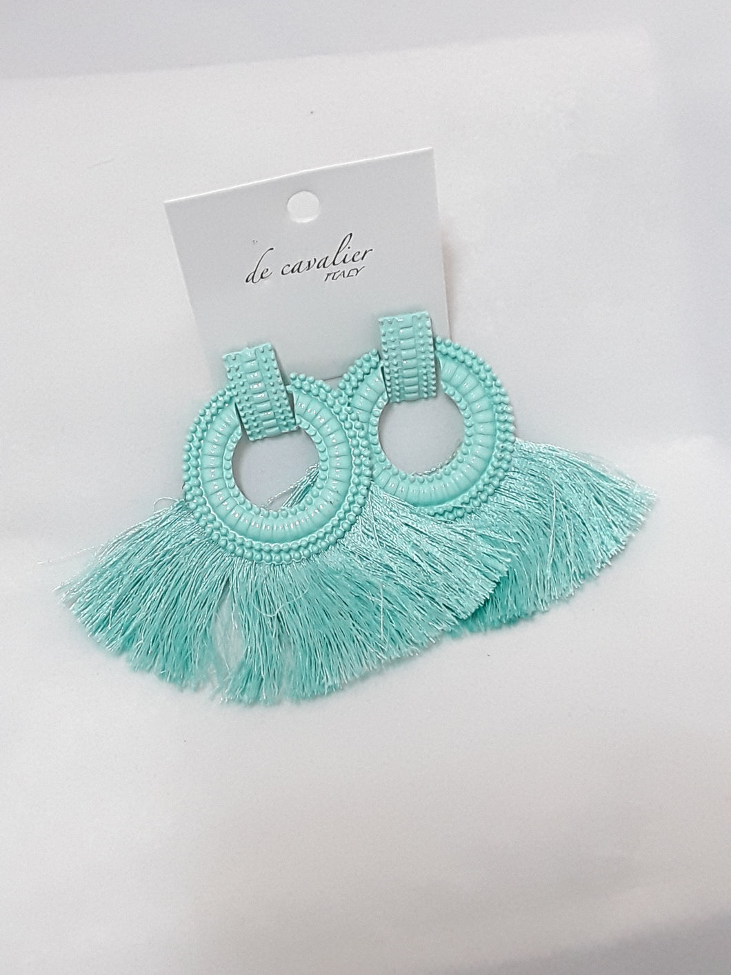 De Cavalier green circle tassle earrings 434
