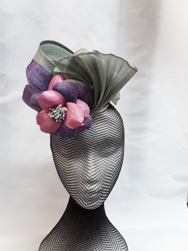 MC Millinery Pink & Purple flower with Grey waves