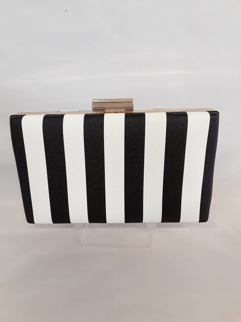 Black and white stripe clutch with gold clasp 815