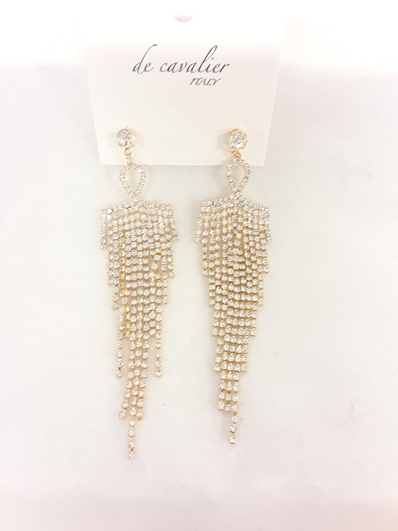 De Cavalier gold and rhinestone tassle drop earrings 121