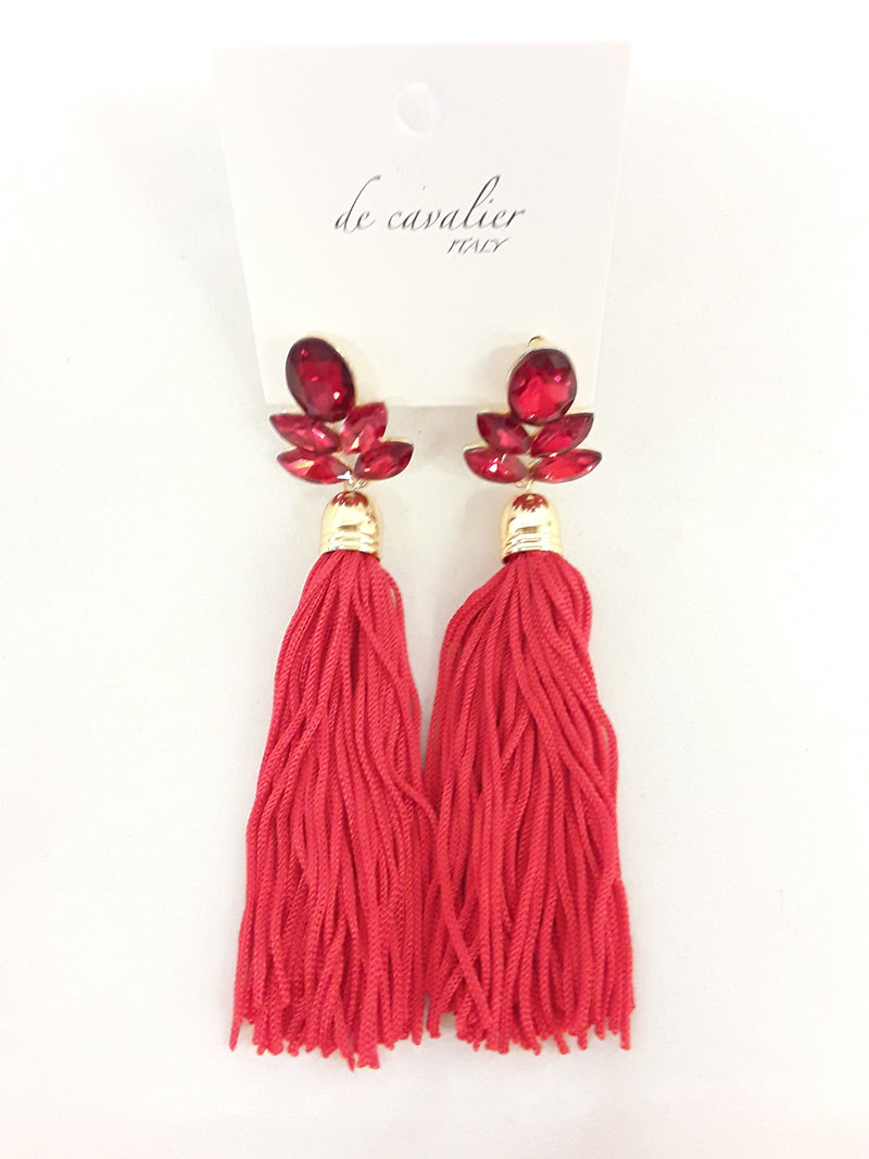 De Cavalier red rhinestone and fringe earrings 255