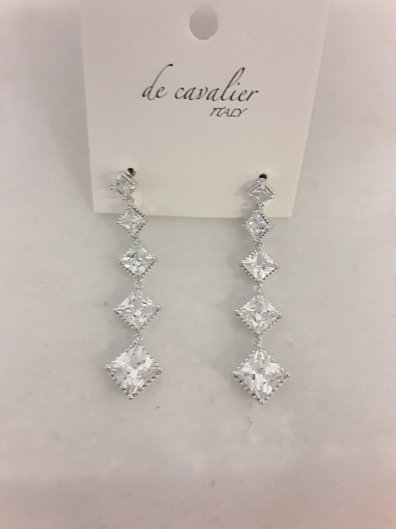 De Cavalier cubic zirconia square drops earrings 355