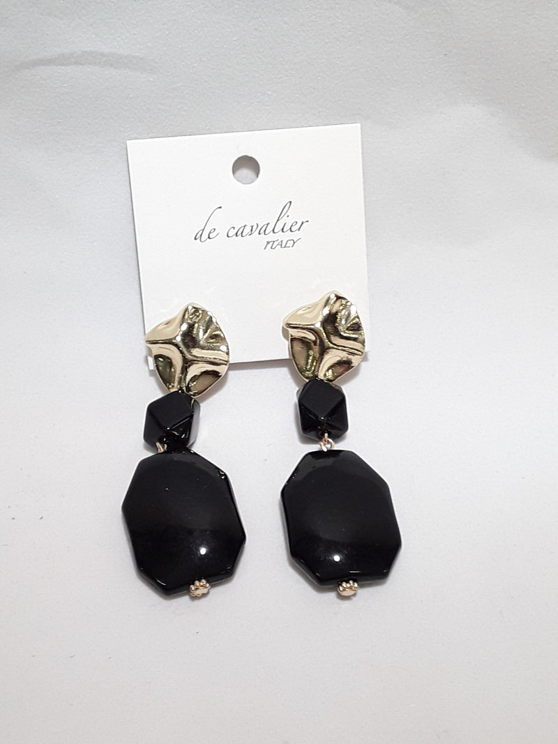 De Cavalier black acrylic earrings 268