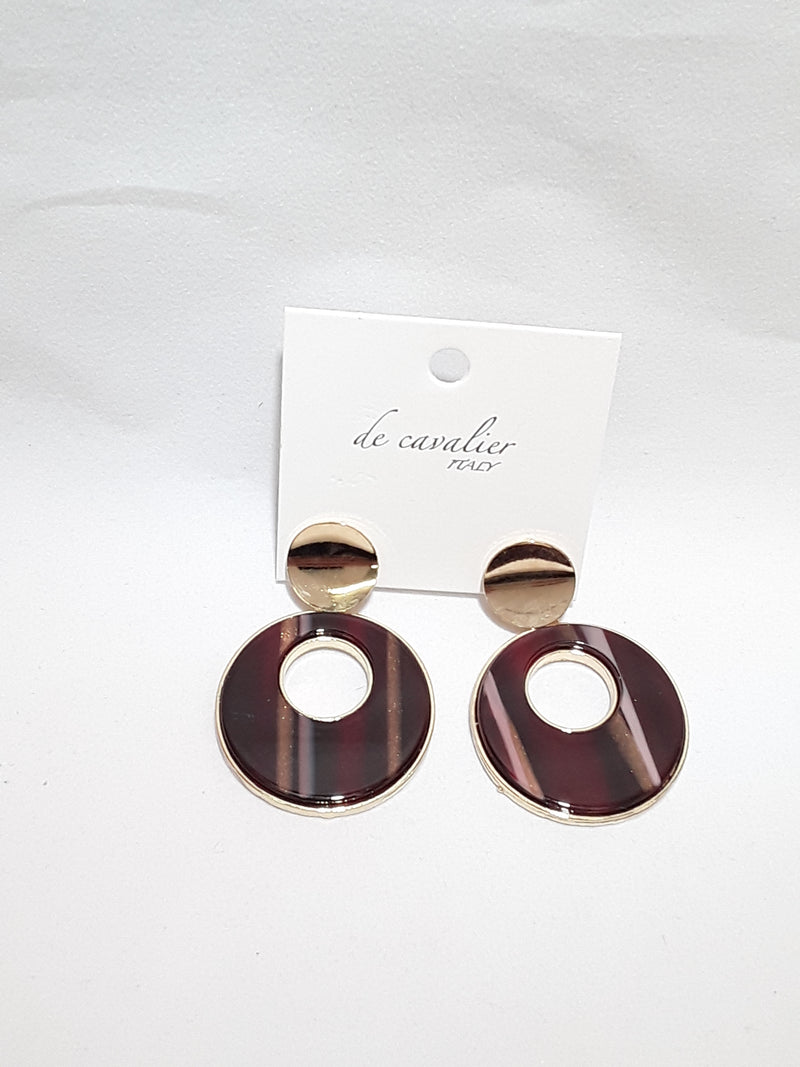 De Cavalier burgundy and gold earrings 276