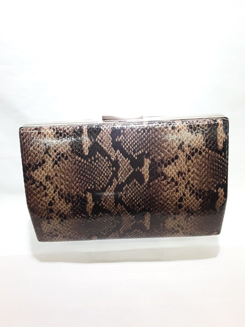 Clutch brown snake skin with gold trim 466