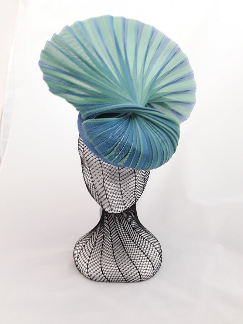 MC Millinery Green and blue jinsin on button