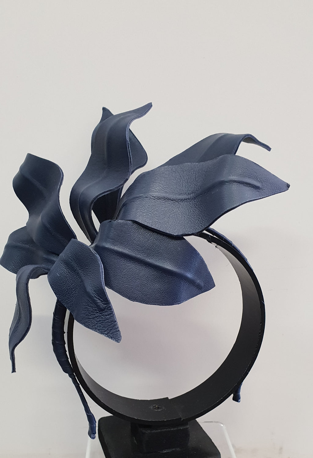 MC Millinery Navy Leather leaves on headband