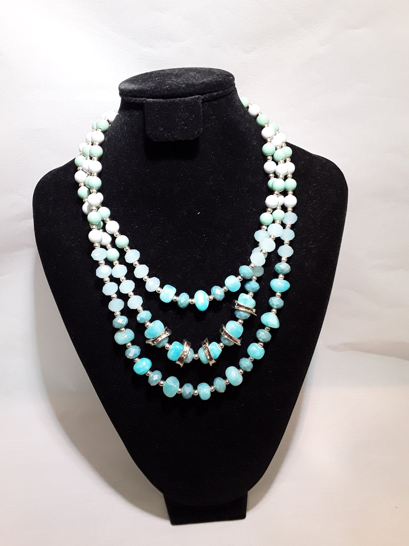 Stellar Rose Mint and Skyblue bead necklace 57049