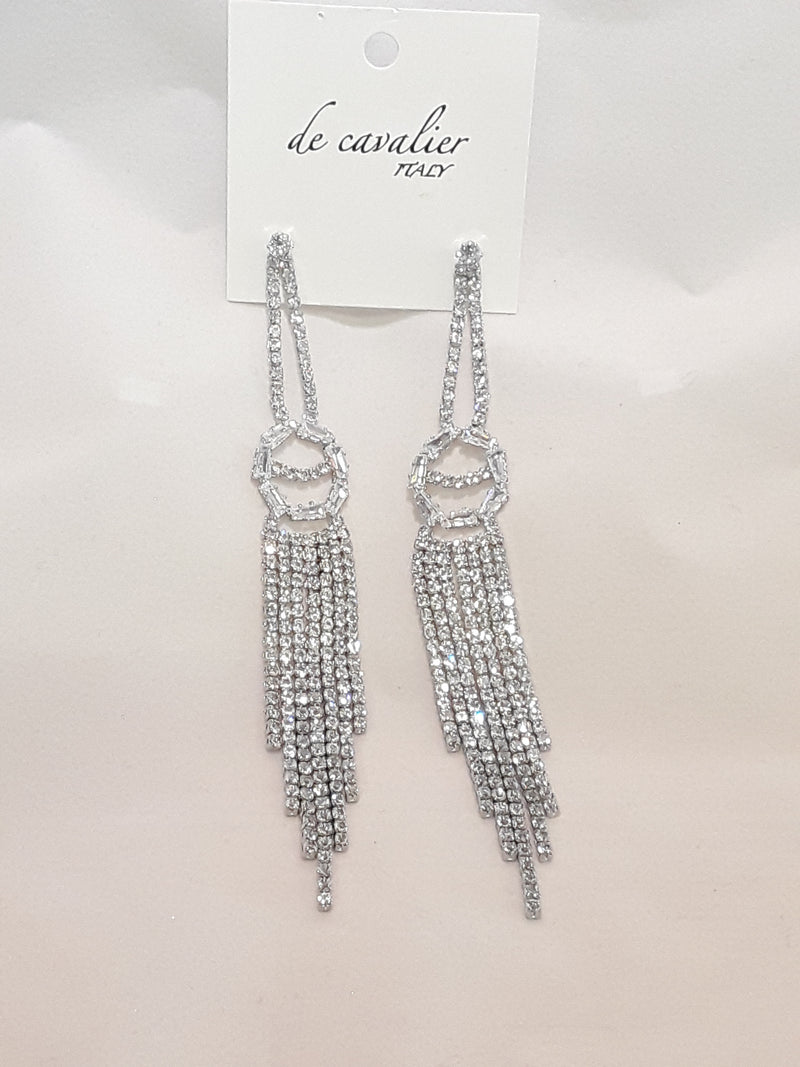 De Cavalier silver and rhinestone earrings 730