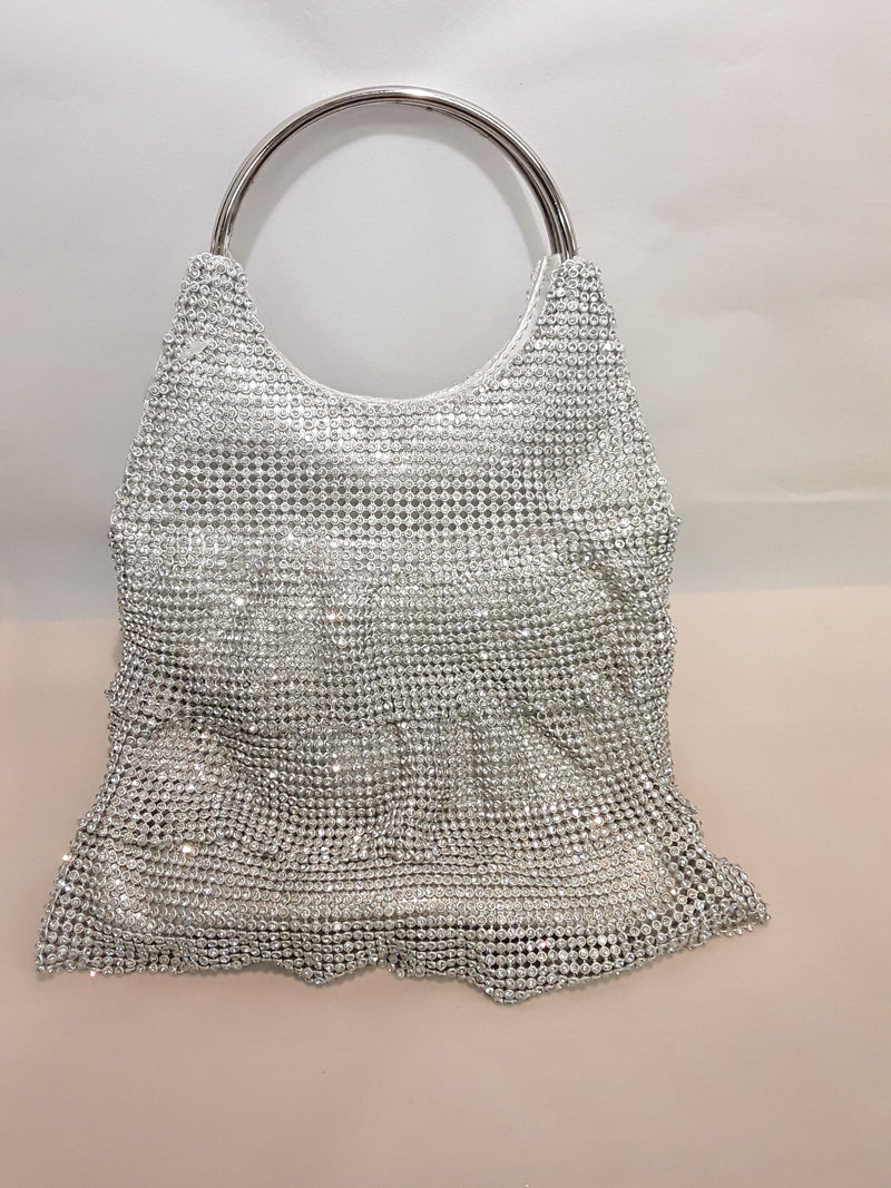 Silver frilled diamonte clutch 38-1a