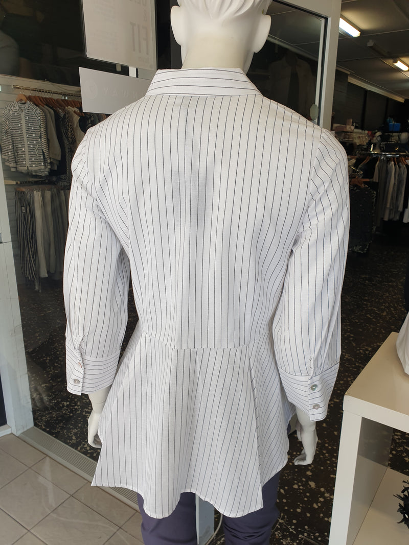Marco Polo Pin Stripe Cotton Peplum Shirt in White or Grey