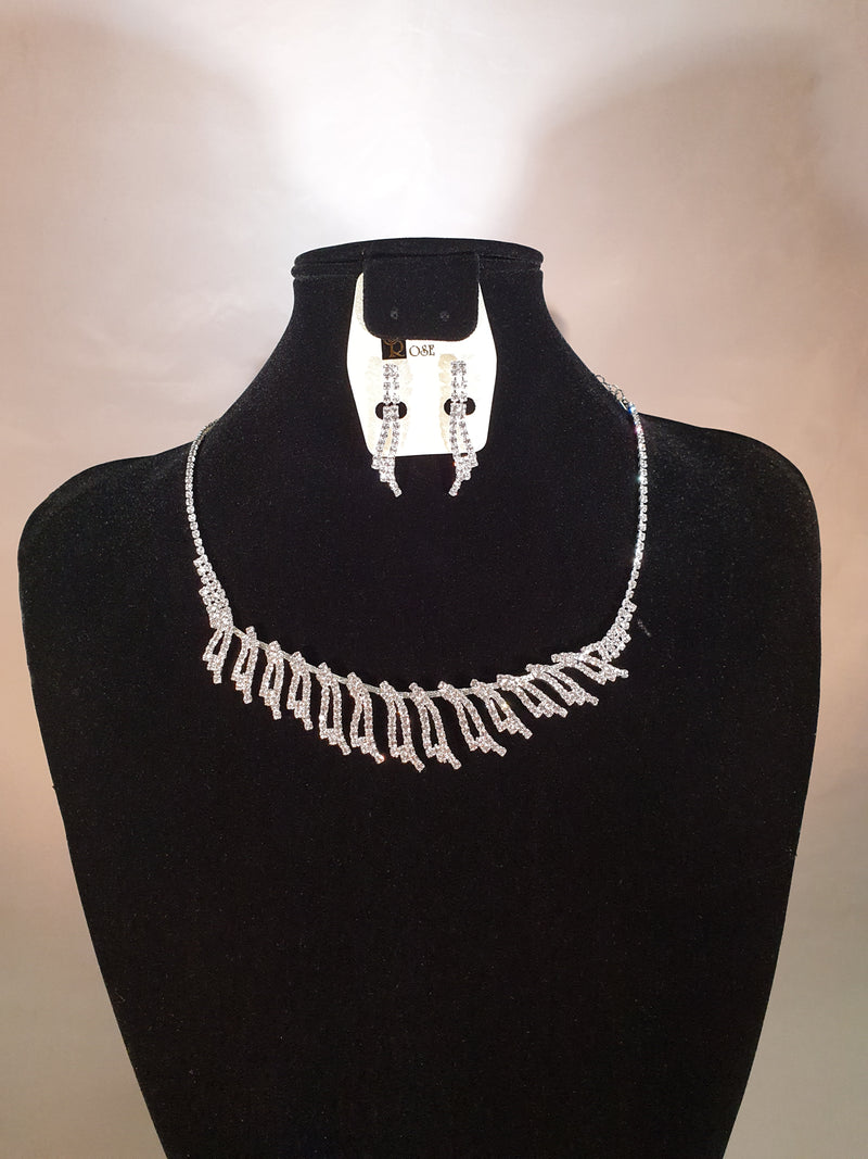 Stellar Rose Diamonte necklace and earrings set 59203