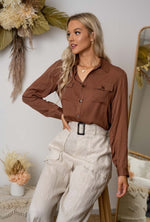 Iris Maxi Sleeved Blouse in Caramel
