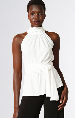Sacha Drake High Neck Tie Top in Ivory