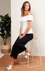 Sacha Drake Off Shoulder Frill Top in Ivory