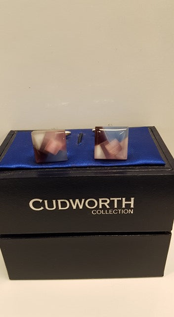 Cuff links pink, purple and blue square 225-93A