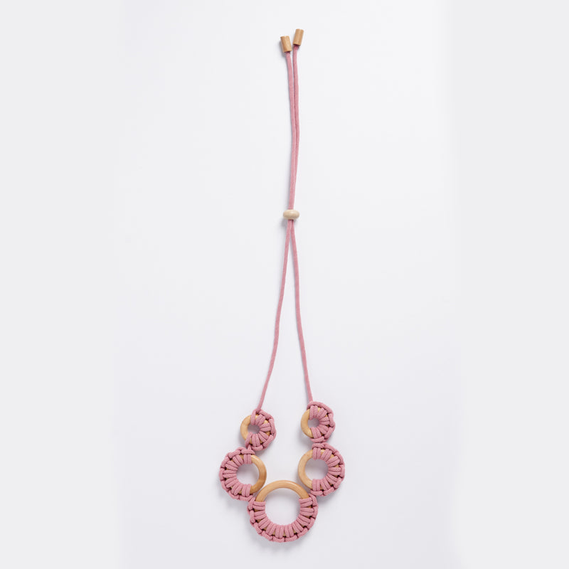 Rare Rabbit Single Hoop Macrame Drop Earring in Blush