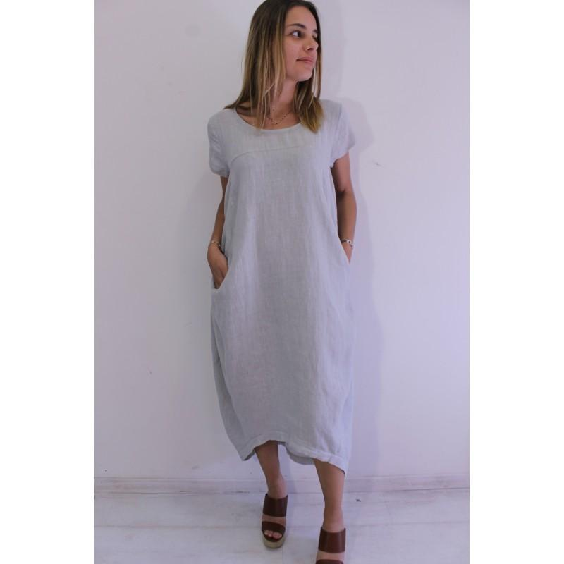 Talia Benson Italian Linen Cap Sleeve Dress in Denim Blue