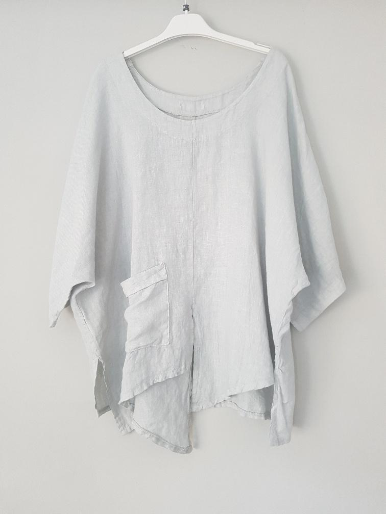 Talia Benson Italian Linen Pocket Top in Silver