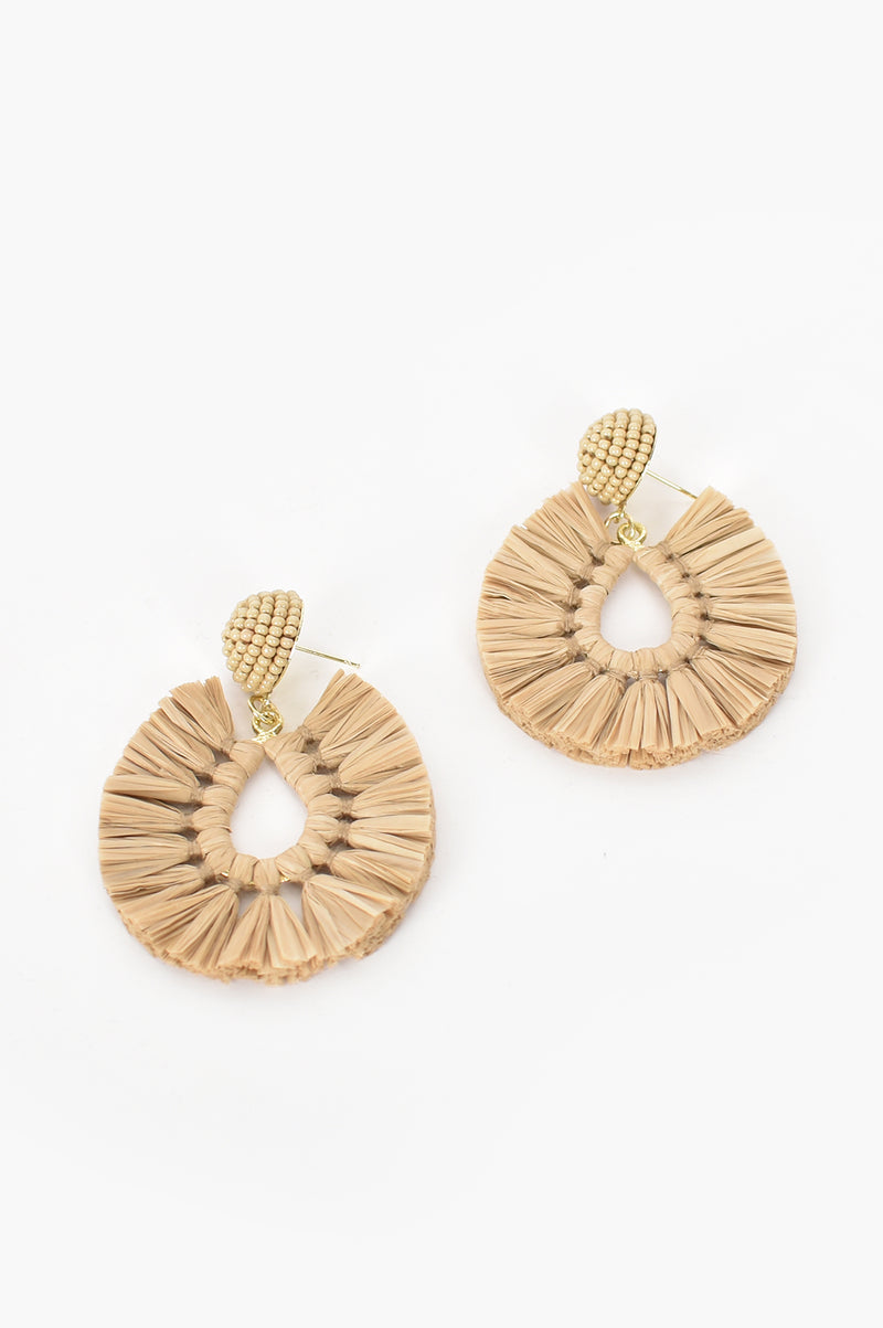 Viva Raffia Beaded Top Earrings in Camel