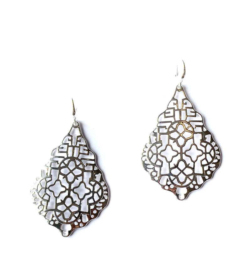 Zoda Silver Scroll Drop Earrings